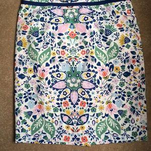 Boden  Pencil Skirt: Folk Floral Print